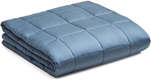 YnM Cooling Weighted Blanket, 100% Natural Bamboo Viscose   9KG Heavy Blanket for 72.5-86KG Individuals, 152CM x 203CM for Queen Bed   Luxury Heavy Blanket, Blue Grey