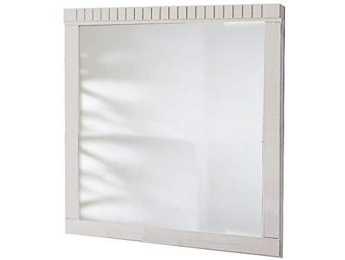 Loft24 Song Spiegel 70x70 cm Wandspiegel weiß Hängespiegel Badspiegel Flurspiegel Holzspiegel Badmöbel Wanddekoration Landhaus Kiefer massiv