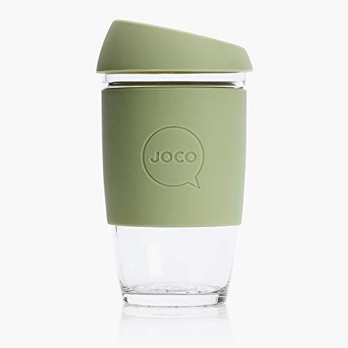 Joco Kaffeebecher aus Glas, wiederverwendbar, 340 ml cool grey