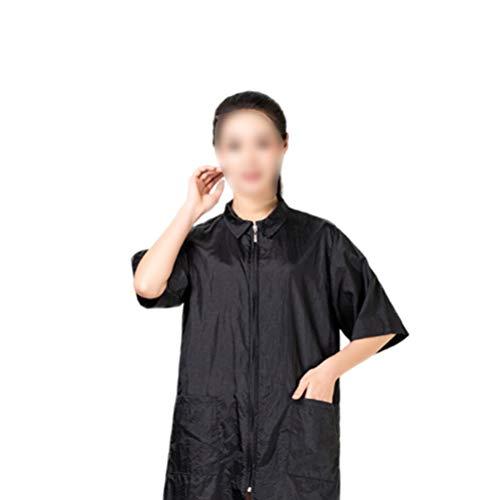 Beaupretty Salonumhangschürze Wasserdichter Haarschneideumhang mit Ärmeln Reißverschluss Friseurbekleidung für Herren Damen (Schwarz L)