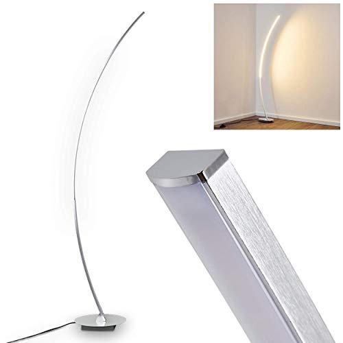 Lampadaire Antares LED arqué en métal chromé, avec interrupteur on/off sur le câble, 15 Watt, 820 Lumen, 3000 Kelvin (blanc chaud)