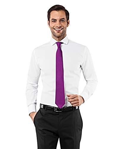 Vincenzo Boretti Herren-Hemd Haifisch-Kragen bügelfrei 100% Baumwolle Slim-fit tailliert Uni-Farben - Männer lang-arm Hemden für Anzug Krawatte Business Hochzeit Freizeit weiß 39-40