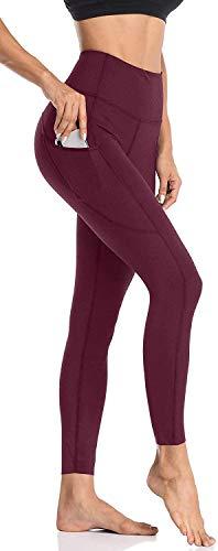 Anwell Sporthose Damen Kompression Leggings with Pockets Sport Leggings Stretch Figurformend Blickdicht Sporthose Damen Sweathose Hohe Taille Rot XL