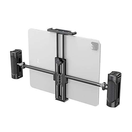 """SmallRig Tablet Metal Holder with Dual Handgrip for iPad Tripod Mount Adapter with 2 Cold Shoe, 1/4"""" Screw, Acra Swiss Rail Mount, for iPad Mini Air Pro Surface Pro (7.9"""" to 12.9"""")"""