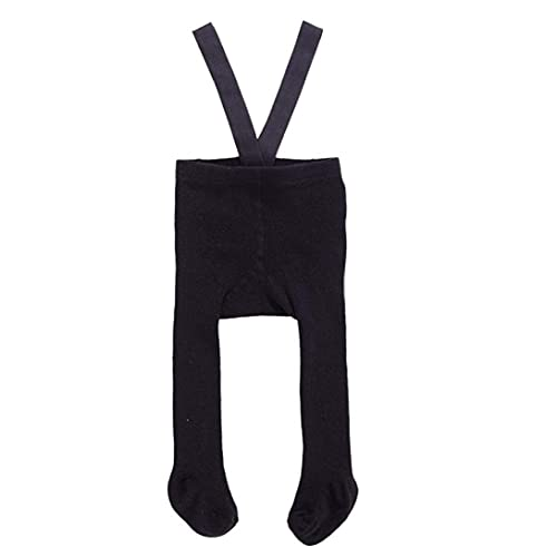 Baby Suspender Pantyhose High Waist Overall Leggings Plain Strap Tights for 0-6M Black