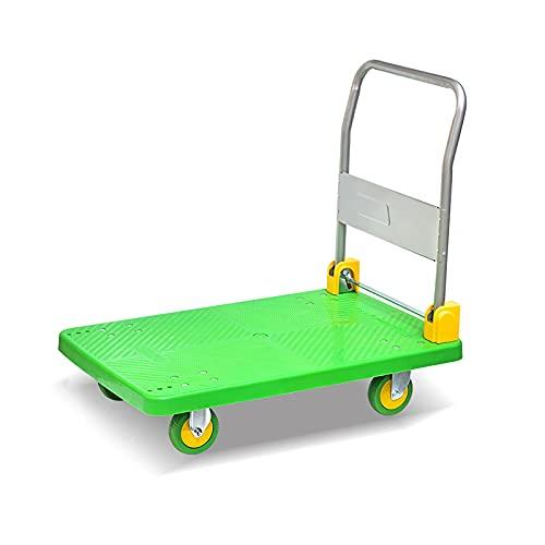 XIANGE100-SHOP Carrello Push per Camion a Mano Piattaforma per movimentazione Maniglia Pieghevole e Ruote girevoli a 360 Gradi per Easy stoccaggio Trasporto Stabile Orso Alto (Size : 90 * 60)