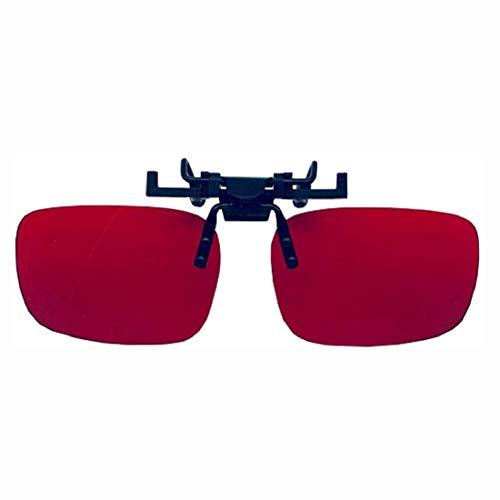 AIfupyi Color Ciego de Gafas correctivas Clip de flippable en Lente para Hombres - Corrección de Colorblind para Verde Rojo - Gafas de Gafas Color Gente para Deutan y Protan - Rojo