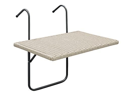 Balkonhängetisch Hängetisch 60x40cm, Metallgestell + Polyrattan grau, mehrfach verstellbar, optimal für kleine Flächen