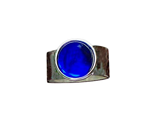 Recycled Vintage Cobalt 1960s Skin Cream Jar Glass Gem Adjustable Ring