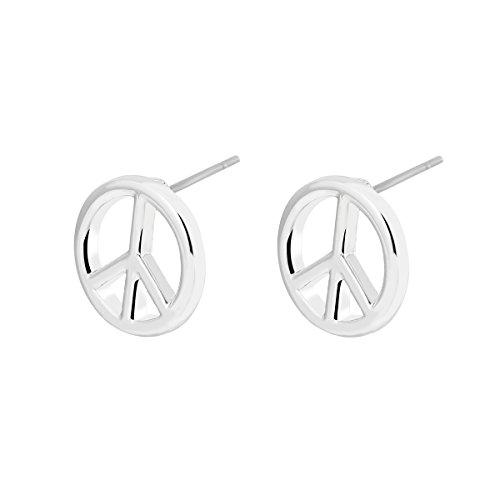 Pendiente de botón para mujer, pendiente de símbolo de paz Stud Girls Gold Silver Dangle Earring Pequeño pendiente de acero inoxidable (Plateado)