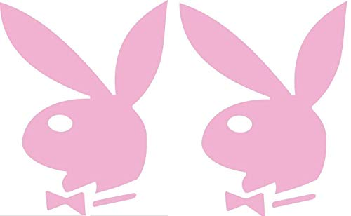 """2 Playboy Bunnies Logo - Vinyl 3"""" tall (Color: PINK) decal laptop tablet skateboard car windows stickers - by So Cool Stuff"""