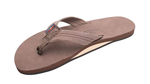 Rainbow Sandals Men's Premier Leather Single Layer with Arch Wide Strap, Expresso, Men's XX-Large / 12-13.5 D(M) US