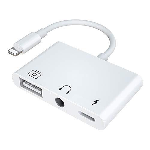 Adaptador OTG USB 3 para lector de tarjetas de cámara con conector de auriculares de 3,5 mm para sincronización de datos para iPhone X/XR/XS/8/7