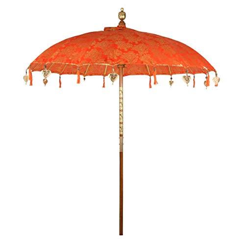 Oriental Galerie Balinesischer Bali Sonnenschirm Garten Schirm Baumwolle Sonnenschutz Bali Handarbeit Retro Vintage Dekoschirm 2-teilig ca.180cm Ø Orange-Gold Singapur