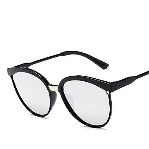 Moda Gafas De Sol De Diseñador De Marca Cat Eye para Mujer, Gafas De Sol De Plástico De Lujo, Gafas Clásicas Retro para Exteriores, C2Black-Silver