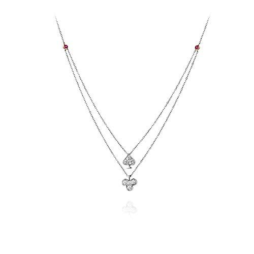 Beydodo Damen Kette 18K Gold Poker Spade mit Diamond Anhänger Halskette Hochzeit Weißgold