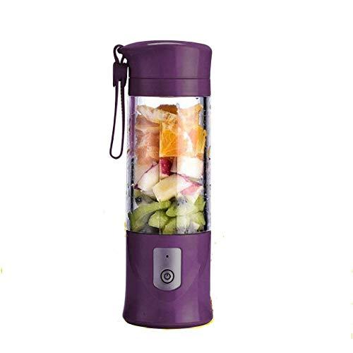 SZJJI Electric Mixer Licuadora de Frutas Recargable portátil Mini Blender con USB, para Batidos, Batidos, jugos, licuadora portátil 420 ml para Deportes y Viajes, sin BPA,Purple
