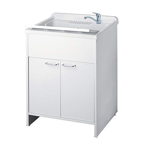 Mobile lavatoio, misura cm.60x60x88, 2 ante, vasca e asse lavapanni, in resina colore bianco, per interno o esterno