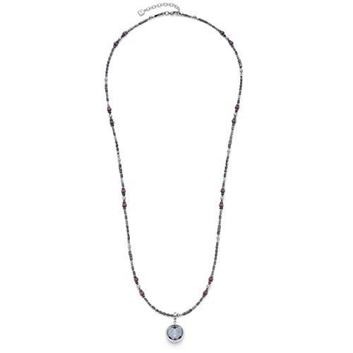 Jewels by Leonardo Damen-Halskette Unico, Edelstahl mit Cat-Eye- und Hämatit-Perlen, Anhänger mit Glassteinen, Clip & Mix System, Länge 850 mm, 016639