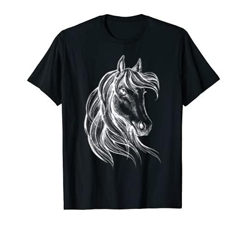 Testa di cavallo con grande criniera per cavaliere e Maglietta