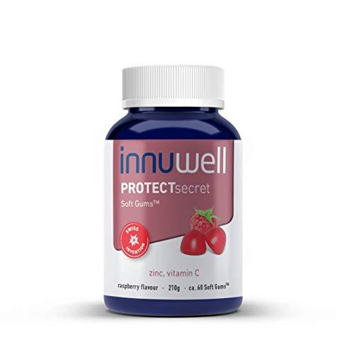 Innuwell PROTECTsecret - Bevat zink en vitamine C - Veganistisch, halal, gelatinevrij, glutenvrij en 100% natuurlijk supplement | ca. 60 Soft Gums™