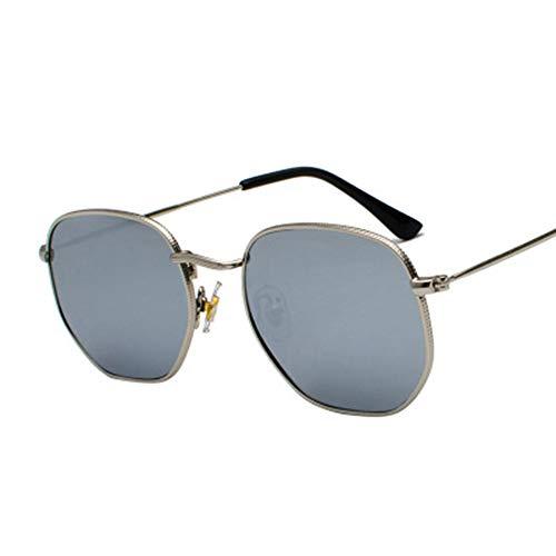 ERIOG Sonnenbrille Square Sonnenbrille Herren Hexagon Sonnenbrille Mannen Damen Metallrahmen Angelbrille Goldgrau Schwarzgrau Silber Grau Brillen