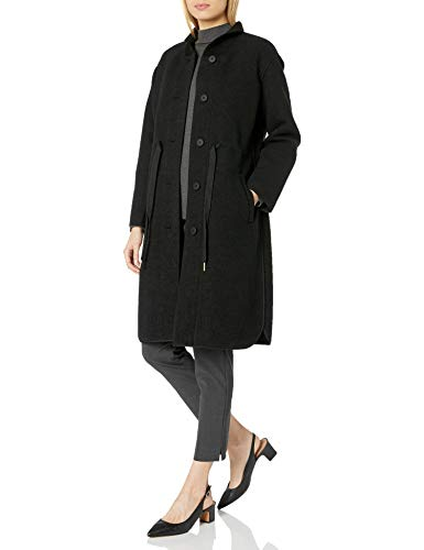 Armani Exchange A X Damen Vintage Style Long Button Up Coat Mantel aus Mischwolle, schwarz, Groß