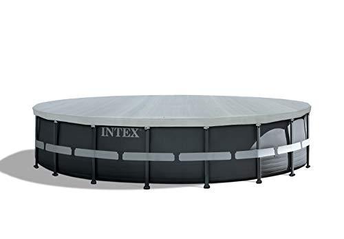 Intex Deluxe Abdeckplane für Frame-Pool, Überhang 20 cm, Grau, Ø 488 cm