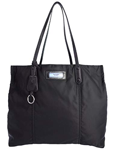 Prada Etiquette Black Nylon Soft Calf Leather Strap Shoulder Shopping Tote