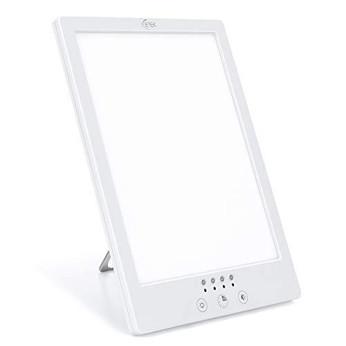 Tageslichtlampe 10000 Lux Lichttherapielampe gegen Depressionen,UV-freie LED Sonnenlicht, Lichttherapie lampe mit 3 Stufenhelligkeit und 4 Timer, Touch-Steuerung und 360°drehbarem Ständer