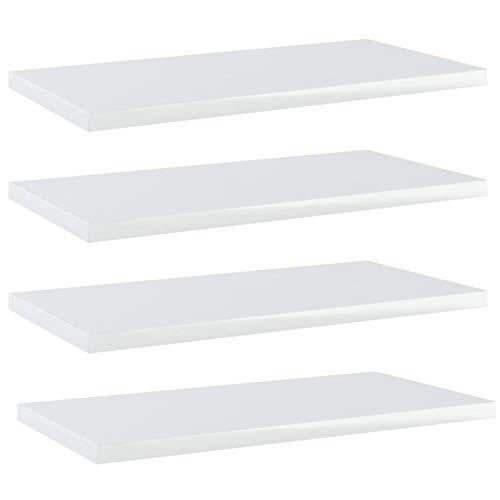 Tidyard 4 STK. Bücherregal Brett Wandboard Wandregal Regal Regalboden Wand Board Hängeregal Schweberegal Dekoregal Hochglanz-Weiß Spanplatte 40x20x1,5 cm