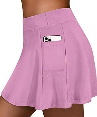 Fulbelle Tennis Skirt, Womens Summer Skirts Active Skort Women Golf Skorts Pockets Plus Size Workout Clothes Running Athletic Practical Performance Gym Sport Sweat Shorts Rose Large