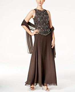 JKARA Womens Gray Beaded Gown And Scarf Sleeveless Jewel Neck Maxi Evening Dress US Size: 6