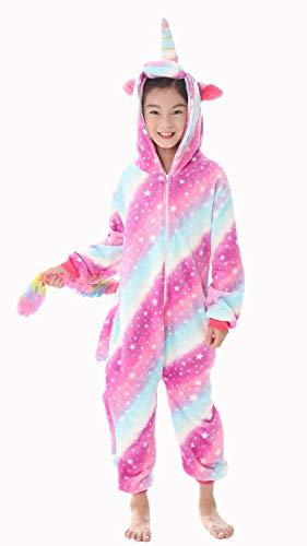 Pigiama con unicorno, per adulti, unisex, per carnevale, Star 3 (bambini), 130 (altezza 120 – 130 cm)