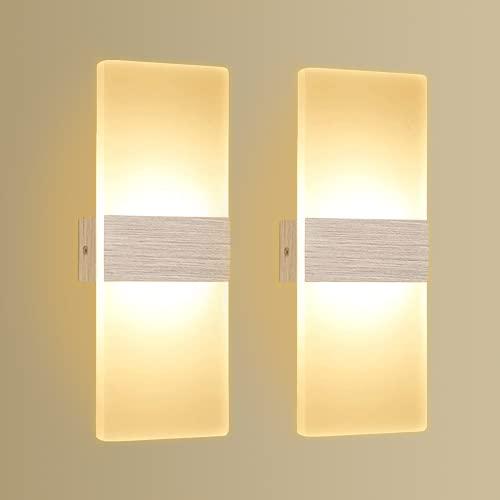 2 x Apliques Pared LED 12W Kimjo, Lámpara de Pared Interior LED Blanco Cálido 3000K AC 220V, Lámpara de Pasillo en Acrílico Moderna Plata Cepillado Perfecto para Corredor, Dormitorio, Escalera