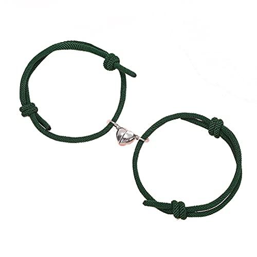 Team99 - 2 pulseras magnéticas atractivas para parejas, hombres y mujeres, cuerda de atracción mutua trenzada ajustable pulsera regalo del día de San Valentín