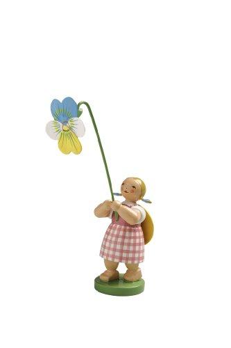 Wendt & Kühn Blumenkinder Sommer Blumenkind Mädchen mit Stiefmütterchen Original Wendt & Kühn Kunsthandwerk Erzgebirge 5248/9
