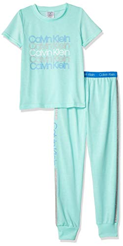 Calvin Klein Girls' Little 2 Piece Sleepwear Top and Bottom Long Pajama Set Pj, Short Sleeve - Delta Teal, Large 10/12