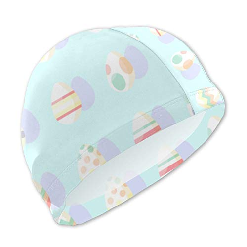 NA Swim Cap Kids Soft and Comfortable Soft and Comfortable Personalized Customization Pastel Easter Eggs for Girls Boys Teens Children Size S