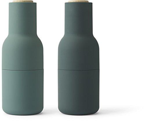 Flaschenmühle klein, Carbon/Asche Dunkelgrün mit Eichendeckel