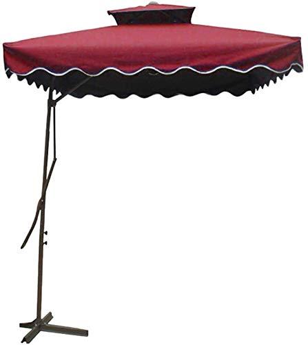 Sombrilla Parasol con Ángulo Ajustable Paraguas de sol colgante con voladizo de doble capa de 2.2m con base transversal para al aire libre / jardines / balcón / Patio Canopy Tent Sun Shade, sin paraso