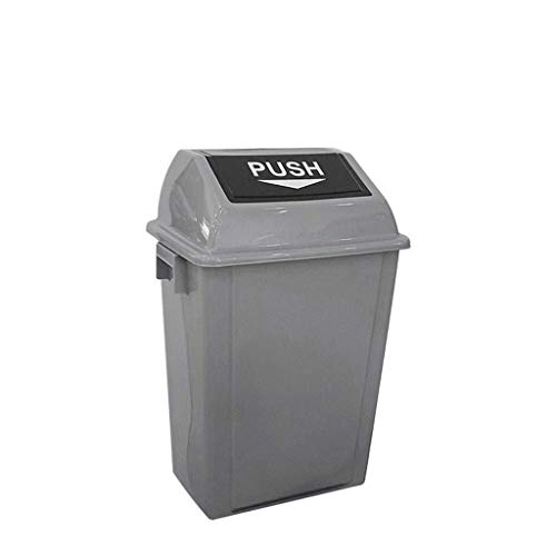 Tangrong Outdoor Trash Can, het schoonmaken van straten Thicken Plastic Vuilnisbak Met Deksel, Public Places Commercial Shake Cover Garbage Trunk, Gray, 20L, 40L, 60L (Color : Gray, Size : 20L)
