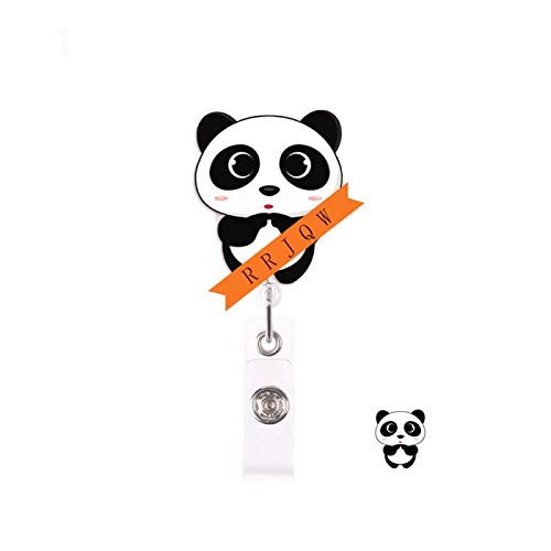 Panda Retractable Badge Holder Reel,Cute Name Badge Tag Clip On Card Holders with Belt Clip,ID Badge Reels Clip Card Holder for Office Worker Doctor Nurse Medstudent and Student