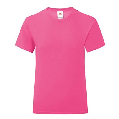 Fruit of the Loom - Camiseta Modelo Iconic para niñas (3-4 Años) (Rosa Fucsia)