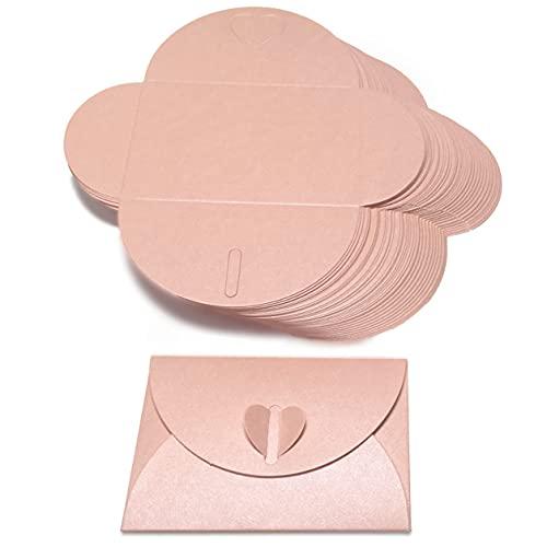【EDEN】 45 days ラブレター ・・・ ハートボタンのミニ封筒 ラメ調 光沢 ピンク 45枚入 [カードなし][組立式][E354R]