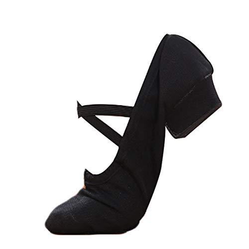 MUCHAO Damen Ballett Schuhe mit niedrigem Absatz Einfarbig Abriebfeste Unterseite Latein Tanzen Performance Schuhe