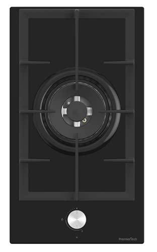 PremierTech Placa de cocción a gas, 1 fuego, 30 cm, cristal negro, 1 quemador rejilla de hierro fundido PC301G