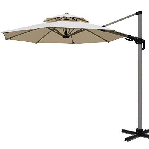 professional ABCCANOPY 10ft Double Top Patio Umbrella Round Cantilever Umbrella Outdoor Market Umbrella…