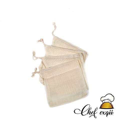 4 sacchetti con cordoncino e filtro 100% cotone organico riutilizzabili e lavabili - zero rifiuti confezione ecologica per tè tisane filtro Infusione spezie e semi -regalo etico e originale matrimonio