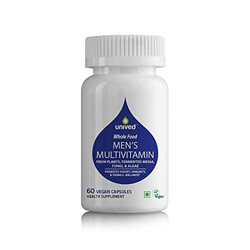 Unived Wholefood Multivitamin for Men | Vegan Plant-Based Multivitamins A, B-Complex, C, D3, E, & K2-7 | 100% Natural, Wholefood Plant Based, & Vegan | 60 Capsules